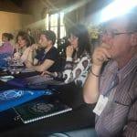 """Orlando explicando su investigación """"El secreto del Eneagrama Sufí invertido y el momento actual de la humanidad desde el giro del Eneagrama"""" en el 2° Encuentro de Formadores y estudiantes de Eneagrama, Los Cocos, 2017"""