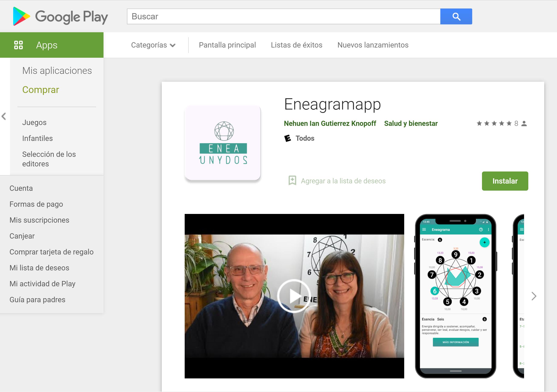 Visión de Eneagramapp desde PlayStore